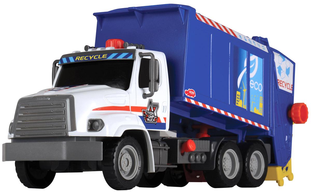 Dickie Toys Мусоровоз Freightliner с подъемным механизмом3806002Мусоровоз Dickie Toys Freightliner с подъемным механизмом кузова непременно понравится вашему ребенку. Игрушка выполнена из прочного пластика в виде мощного мусоровоза. Контейнер мусоровоза может подниматься и опускаться с помощью помпового насоса. Для подъема контейнера используется кнопка на крыше кабины. Для опускания контейнера служит рычажок, расположенный в основании кузова. К машине также прилагается мусорный контейнер, который прочно фиксируется к подъемнику и может опрокидываться в контейнер с помощью колесика. С этой игрушкой ваш малыш будет часами занят игрой. Порадуйте его таким замечательным подарком!
