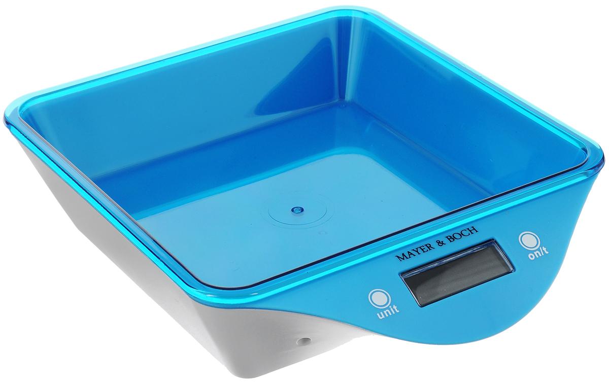 Весы кухонные Mayer & Boch, цвет: синий, белый, до 5 кг10957_синий, белыйВесы кухонные Mayer & Boch позволят вам взвесить с точностью до грамма продукты весом до 5 кг. Корпус весов и чаша для продуктов выполнены из высококачественного пластика. Весы оснащены электронным дисплеем. На корпусе расположены две кнопки управления: кнопка включения/отключения и обнуления веса - On/Off/Tare и кнопка выбора меры весов - Unit. Если вы забудете отключить весы, они отключатся автоматически. Дно весов снабжено четырьмя противоскользящими ножками. Кухонные весы Mayer & Boch придутся по душе каждой хозяйке и станут незаменимым аксессуаром на кухне. Нагрузка: 2-5000 г. Питание: 2 х ААА (входят в комплект). Размер весов: 22 х 18 х 5,5 см. Размер чаши: 18 х 18 х 4 см.