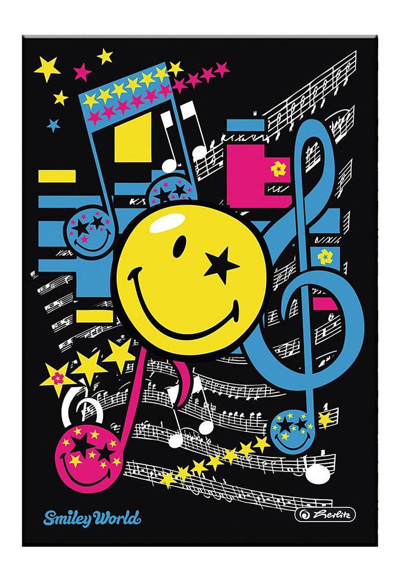 Herlitz Записная книжка Smiley Pop 96 листов в клетку11366069Записная книжка Herlitz Smiley Pop - незаменимый атрибут современного человека, необходимый для рабочих и повседневных записей в офисе и дома. Записная книжка формата А5 содержит 96 листов в клетку. Обложка, выполненная из плотного картона, оформлена изображением забавного смайла и нотных знаков. Прошитый внутренний блок гарантирует полное отсутствие потери листов. Записная книжка Herlitz Smiley Pop станет достойным аксессуаром среди ваших канцелярских принадлежностей. Она подойдет как для деловых людей, так и для любителей записывать свои мысли, рисовать скетчи, делать наброски.