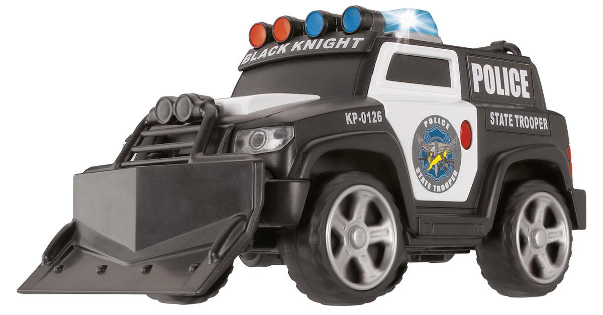 Dickie Toys Полицейский броневик3353575Полицейский броневик Dickie Toys, выполненный из качественных материалов, представляет собой крутой полицейский броневик, оснащенный плугом и лебедкой. Плуг снимается, лебедка вращается. При нажатии кнопки, расположенной на левой дверце, включается сирена и мигают проблесковые маячки на крыше. Колеса свободно вращаются. Полицейский броневик Dickie Toys разнообразит игровые ситуации, откроет новые сюжеты для маленького автолюбителя и поможет развить мелкую моторику рук, внимание и координацию движений. Не упустите шанс порадовать своего малыша замечательным подарком! Для работы игрушки необходимы 3 батарейки типа LR41 (товар комплектуется демонстрационными).