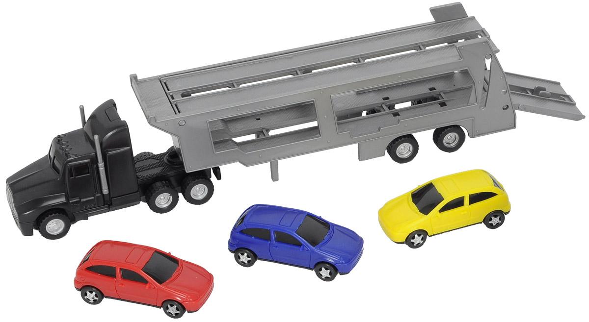 Dickie Toys Трейлер с 3 машинками3746000Трейлер Dickie Toys непременно понравится вашему ребенку. Игрушка выполнена из прочного пластика в виде трейлера для перевозки легковых автомобилей. Прицеп можно отсоединить. Колеса машинок свободно вращаются, пандус опускается. В комплект входят 3 пластиковых машинки со свободным ходом. С такой игрушкой ваш малыш будет часами занят игрой. Порадуйте его таким замечательным подарком!