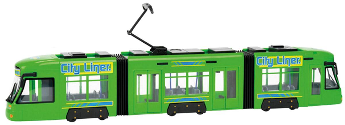 Dickie Toys Трамвай City Liner цвет салатовый3829000Городской трамвай Dickie Toys City Liner привлечет внимание вашего ребенка и не позволит ему скучать. Игрушка является уменьшенной копией настоящего трамвая с гибкой гармошкой. Трамвай оснащен открывающимися с помощью колесиков дверьми, поднимающимся полупантографом и колесами со свободным ходом. Внутри салона расположены ряды пассажирских кресел. Остается только подобрать фигурки, подходящие по размеру, - и можно отправляться в увлекательное путешествие! Ваш ребенок будет часами играть с трамваем, воспроизводя различные истории из городской жизни. Порадуйте его таким замечательным подарком!