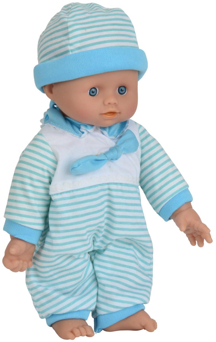 Simba Пупс озвученный Cutie Doll Laura цвет бирюзовый белый5140245_бирюзовыйОзвученный пупс Simba Cutie Doll Laura непременно приведет в восторг вашу дочурку. Голова, ручки и ножки пупса выполнены из прочного материала, а тело - мягконабивное. Очаровательный малыш одет в полосатый комбинезон, а на голове - полосатая шапочка. При нажатии на животик игрушка воспроизводит реалистичные звуковые эффекты. Всего пупс воспроизводит 10 разных звуков. Трогательный пупс принесет радость и подарит своей обладательнице мгновения нежных объятий. Игры с куклами способствуют эмоциональному развитию, помогают формировать воображение и художественный вкус, а также развивают в вашей малышке чувство ответственности и заботы. Великолепное качество исполнения делают эту куклу чудесным подарком к любому празднику. Для работы игрушки необходимы 3 батарейки напряжением 1,5V типа AG13 (товар комплектуется демонстрационными).