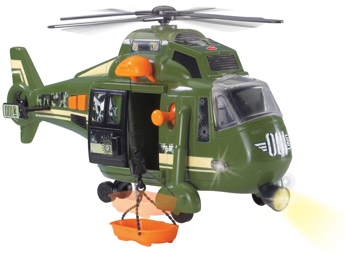 Dickie Toys Вертолет военный Sky Force3308363Многофункциональный вертолет Dickie Toys Sky Force станет отличным подарком для вашего мальчика, в особенности, если он увлечен военной техникой. Эта замечательная игрушка изготовлена из высококачественного пластика и обладает разными уникальными особенностями. Двери вертолета и стекло кабины открываются, внутрь можно посадить фигурку любимого героя. При нажатии на кнопки, расположенные в хвосте вертолета, крутится винт, слышен звук двигателя, светятся бортовые огни и прожектор. Лебедка управляется с помощью рычажка, расположенного возле двери. С помощью лебедки можно поднимать и опускать спасательную люльку (в комплекте). С этой игрушкой ваш малыш будет часами занят игрой. Порадуйте его таким замечательным подарком! Для работы игрушки необходимы 3 батарейки напряжением 1,5V типа АА (товар комплектуется демонстрационными).