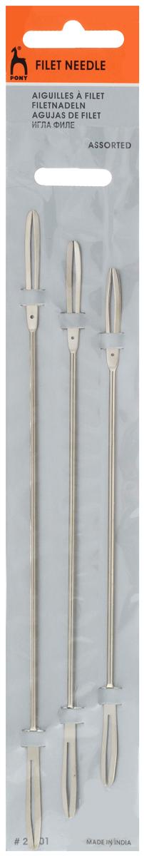 Иглы филейные Pony, для вязания, 3 шт22301Ручные иглы Pony, изготовленные из стали, которые представляют собой металлический стержень с концами вилообразной формы. На челнок наматывают нитки для специального филейного плетения мелкой квадратной или ромбовидной сетки. Чем мельче сетка, тем тоньше должна быть игла. Игла имеет гладкие, закругленные и отполированные края, чтобы петли не цеплялись, были ровными и хорошо скользили при плетении. В технике филейного вязания выполняются салфетки, скатерти, занавески, покрывала, а также любая одежда от ажурных кружевных вставок, до свитеров и костюмов. Длина игл: 17 см, 19 см, 21 см.