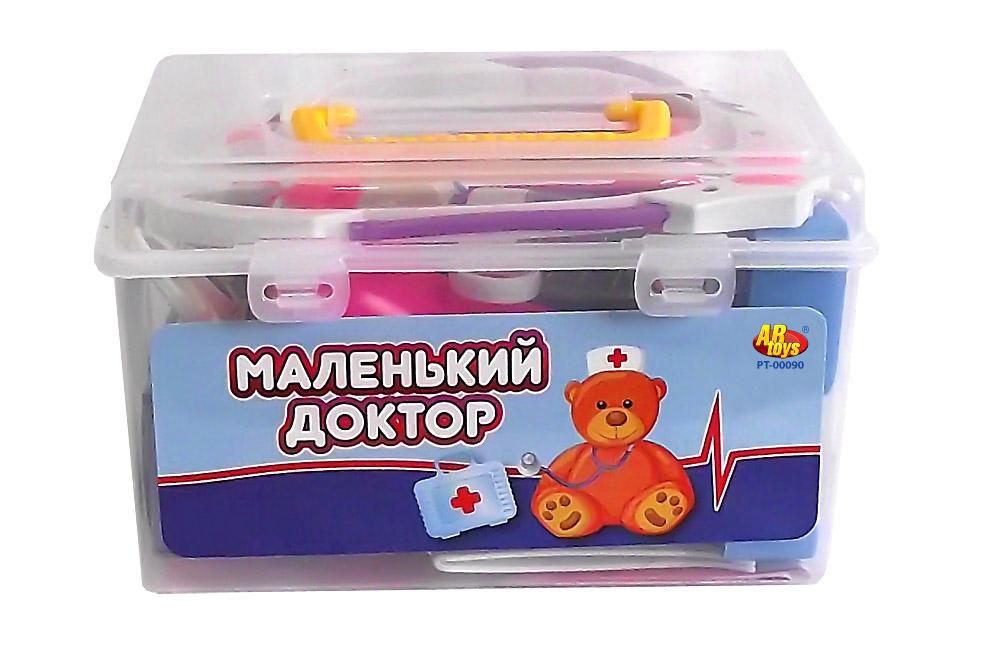 ABtoys Набор Маленький доктор с чемоданчиком PT-00293PT-00293Порадуйте своего малыша этим замечательным набором ! В наборе 22 предметов. Игрушка развивает: - тактильные навыки, - зрительную координацию, - мелкую моторику рук. Дополнительно: Возраст: 3+.