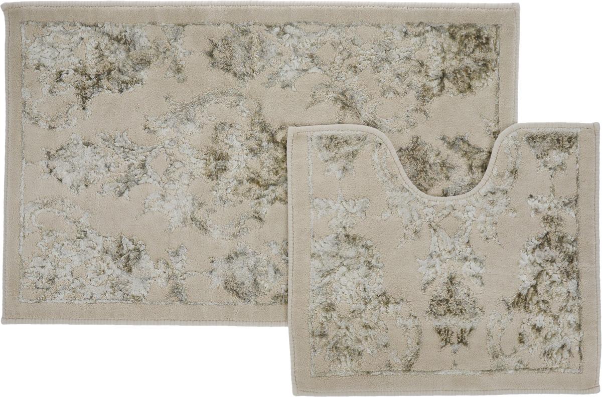 "Набор ковриков для ванной Arya ""Osmanli"", цвет: темно-бежевый, белый, 2 шт TR1001009Темно-Бежевый"