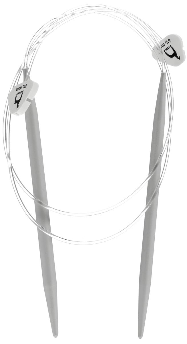 Спицы Pony, металлические, круговые, диаметр 6,5 мм, длина 60 см, 2 шт65214Спицы для вязания Pony, изготовленные из алюминия, имеют закругленные кончики и скреплены гибким пластиковым шнуром. Они прочные, легкие, гладкие, удобные в использовании. Круговые спицы наиболее удобны для выполнения деталей и изделий, не имеющих швов. Круговыми спицами вяжут бейки горловины. Вы сможете вязать для себя, делать подарки друзьям. Рукоделие всегда считалось изысканным, благородным делом. Работа, сделанная своими руками, долго будет радовать вас и ваших близких.