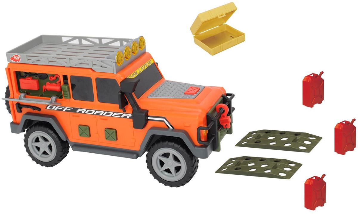 Dickie Toys Внедорожник Off Roader3318349Мощный многофункциональный внедорожник Dickie Toys Off Roader с открывающейся задней дверью, съемным запасным колесом и лебедкой непременно понравится вашему ребенку. Нажатие кнопок на боковых дверях внедорожника активирует звуковые и световые эффекты: светятся верхние прожекторы, слышен звук заводящегося двигателя, рокот мотора. Открытие боковой панели-окна с помощью рычажка также сопровождается звуковыми эффектами. В наборе есть аксессуары, которые можно расположить на крыше внедорожника: большой ящик, три канистры и 2 настила под колеса. Лебедка свободно разматывается. Чтобы свернуть лебедку обратно, достаточно нажать на кнопку на капоте машины. С этой игрушкой ваш малыш будет часами занят игрой. Порадуйте его таким замечательным подарком! Для работы игрушки необходимы 2 батарейки напряжением 1,5V типа АА (товар комплектуется демонстрационными).