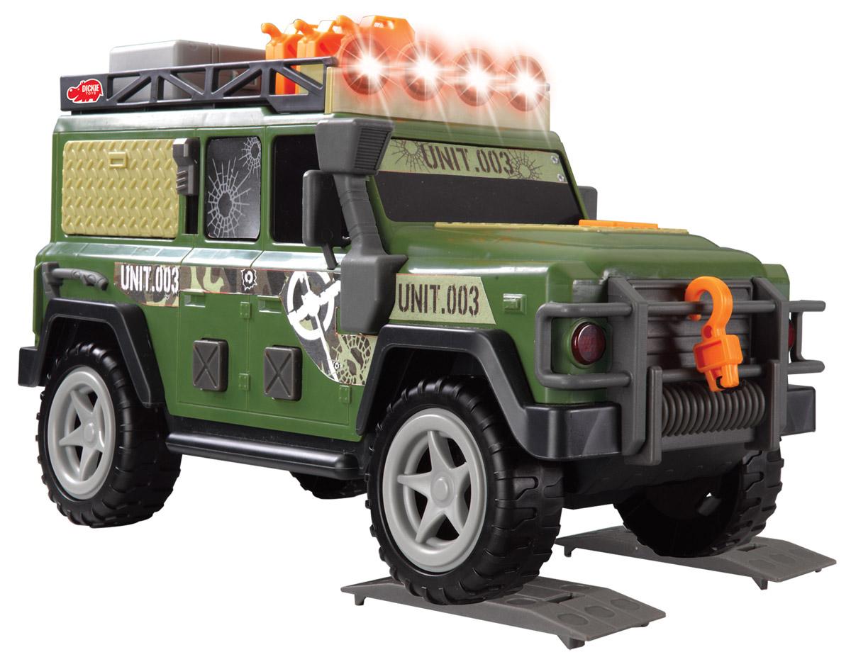 Dickie Toys Внедорожник Outland Patrol3308366Мощный военный внедорожник Dickie Toys Outland Patrol с открывающейся задней дверью, съемным запасным колесом и лебедкой непременно понравится вашему ребенку. Нажатие кнопок на боковых дверях внедорожника активирует звуковые и световые эффекты: светятся верхние прожекторы, слышен звук заводящегося двигателя, рокот мотора. Открытие боковой панели-окна с помощью рычажка также сопровождается звуковыми эффектами. В наборе есть аксессуары, которые можно расположить на крыше внедорожника: большой ящик, три канистры и 2 настила под колеса. Лебедка свободно разматывается. Чтобы свернуть лебедку обратно, достаточно нажать на кнопку на капоте машины. С этой игрушкой ваш малыш будет часами занят игрой. Порадуйте его таким замечательным подарком! Для работы игрушки необходимы 2 батарейки напряжением 1,5V типа АА (товар комплектуется демонстрационными).