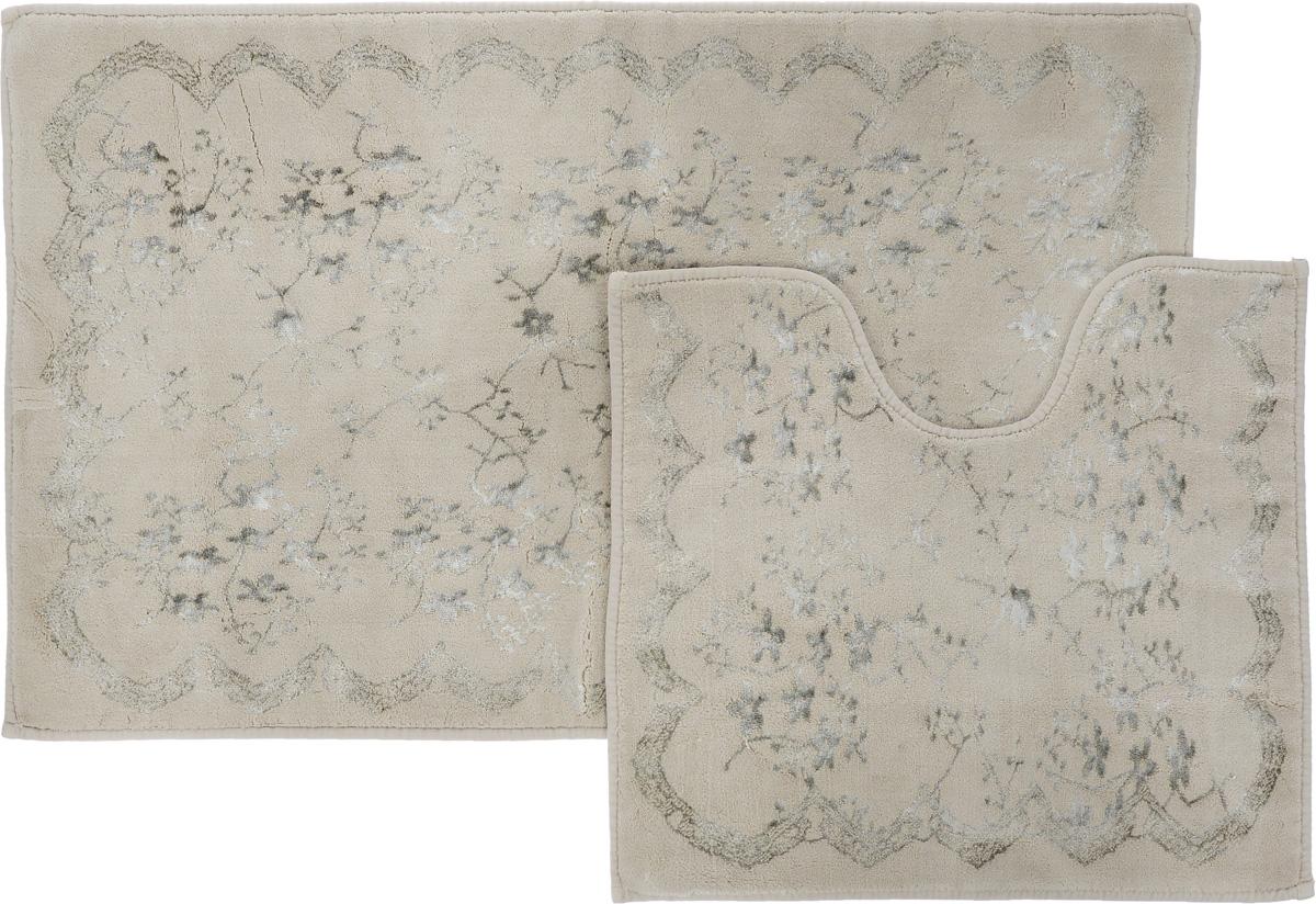 """Набор ковриков для ванной Arya """"Bahar"""", цвет: бежевый, белый, 2 шт TR1001007Бежевый"""
