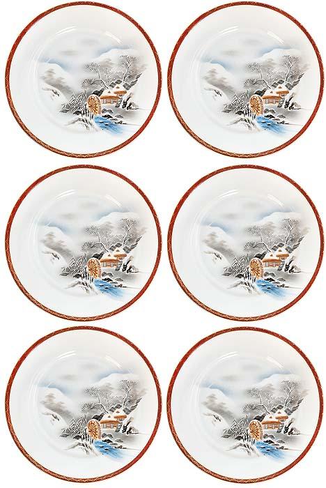 Набор десертных тарелок Водяная мельница, 6 шт. Фарфор, роспиь, золочение. Япония, 1960-е гг.ОС27728Набор десертных тарелок Водяная мельница, 6 шт. Фарфор, ручная роспись, золочение. Маркировка: иероглиф. Датировка: Япония, 1960-е гг. Диаметр 19,5 см. Сохранность очень хорошая, без повреждений, без сколов, без утрат. Замечательный подарок коллекционеру ценного фарфора!