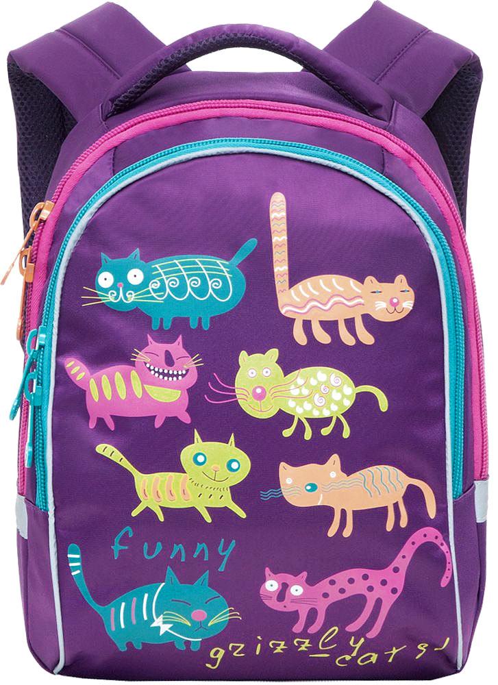 Grizzly Рюкзак детский Коты цвет фиолетовыйRG-657-4/3Детский рюкзак Коты - это красивый и удобный рюкзак, который подойдет всем, кто хочет разнообразить свои школьные будни. Рюкзак выполнен из плотного материала и оформлен оригинальным принтом с цветными забавными котиками. Рюкзак имеет два основных отделения, закрывающиеся на молнии. Одно из отделений содержит открытый накладной карман и три кармашка для канцелярских принадлежностей. Рюкзак оснащен удобной ручкой для переноски и светоотражающими элементами. Широкие регулируемые лямки и сетчатые мягкие вставки на спинке рюкзака предохранят мышцы спины ребенка от перенапряжения при длительном ношении. Многофункциональный детский рюкзак станет незаменимым спутником вашего ребенка.