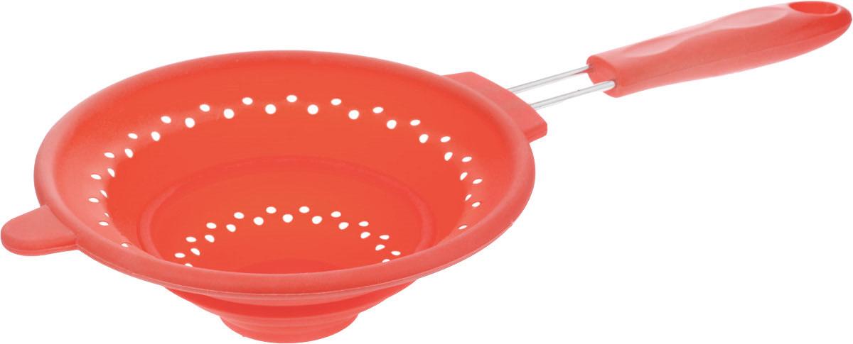 Дуршлаг Mayer & Boch, силиконовый, складной, цвет: красный, диаметр 20 см4434-1Дуршлаг Mayer & Boch изготовлен из качественного пищевого силикона и оснащен металлической ручкой. Благодаря гибкости материала, дуршлаг удобно складывается и занимает минимум места при хранении. В таком дуршлаге удобно промывать ягоды, фрукты, овощи, а также процеживать макароны. Дуршлаг является необходимым аксессуаром для каждой кухни. Он станет полезным и практичным приобретением. Диаметр дуршлага: 20 см. Ширина дуршлага (с учетом ручки): 41 см. Длина ручки: 18 см. Максимальная высота стенки: 7,5 см. Минимальная высота стенки: 2 см.