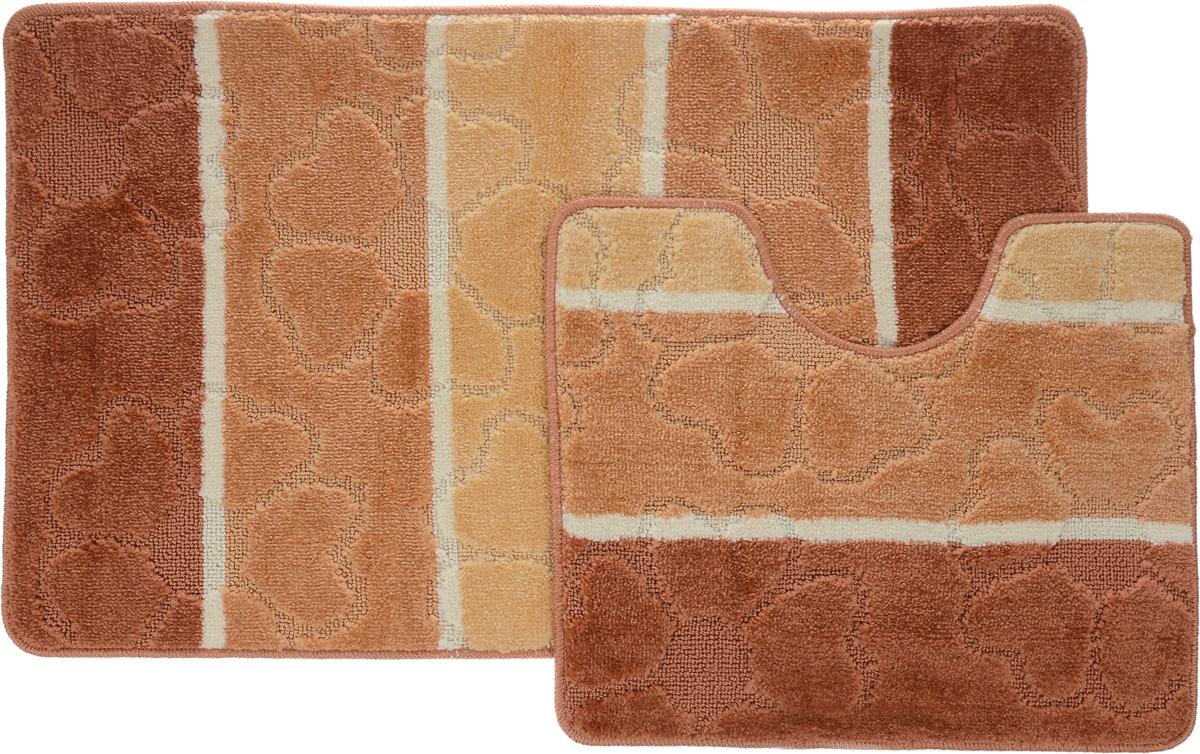 Набор ковриков для ванной Arya Multi 5011, цвет: терракотовый, медный, молочный, 2 штTR1000217Терракотовый, МедныйНеобыкновенные коврики для ванной Arya Multi 5011 обладают эффектным дизайном, мягким и легким в уходе ворсом, нежным естественным оттенком, а также насыщенным цветом. Набор состоит из двух ковриков, выполненных из полиэстера. Верхняя часть из ворса 3 мм. Коврики украшены слегка выбитым рисунком на ворсе, который придаст еще большей элегантности дизайну ванной комнаты. Особенности изделий: С обратной стороны коврики имеют противоскользящее латексное покрытие. Края ковриков обработаны. Коврики не требовательны в уходе, если они чрезмерно не пачкаются и не загрязняются. В зависимости от интенсивности использования достаточно раз в месяц или в три месяца привести их в порядок. Коврики легко сворачиваются или складываются и помещаются в емкость для стирки. Данные коврики легко выдержат машинную стирку на бережном цикле при 30°С. Хорошо впитывают влагу, не пропускают ее на пол, быстро сохнут. Коврик - это необходимый предмет, без...