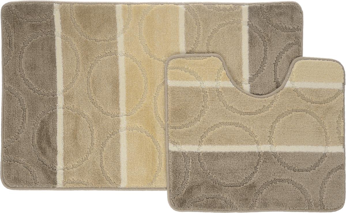 """Набор ковриков для ванной Arya """"Multi 5006"""", цвет: коричневый, светло-бежевый, молочный, 2 шт"""