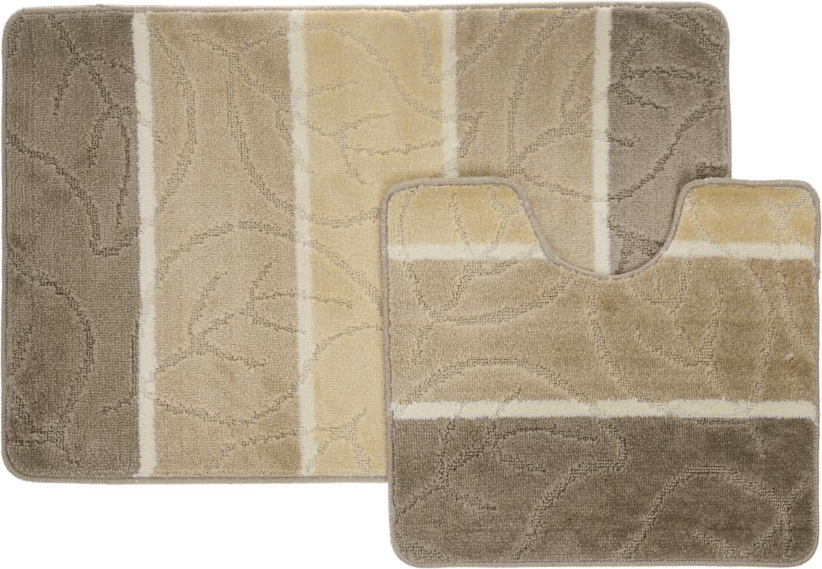 """Набор ковриков для ванной Arya """"Multi 5019"""", цвет: коричневый, светло-бежевый, молочный, 2 шт"""
