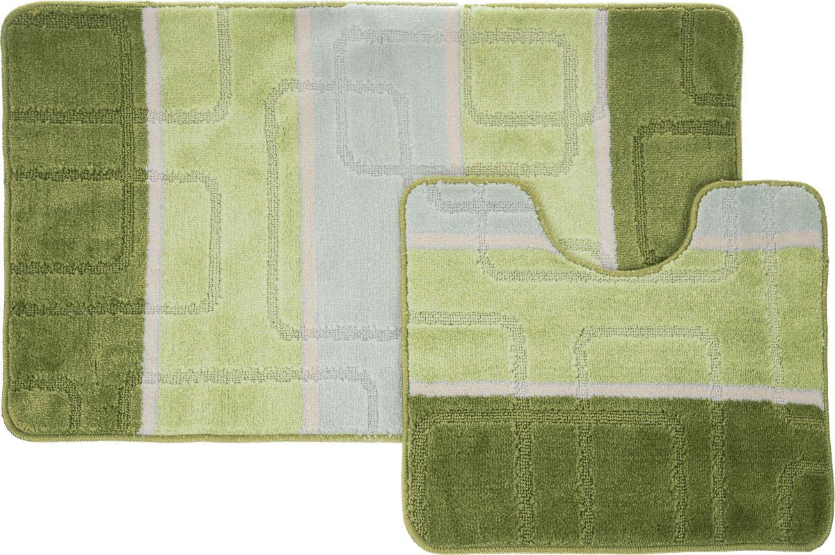 """Набор ковриков для ванной Arya """"Multi 5020"""", цвет: зеленый, фисташковый, молочный, 2 шт"""