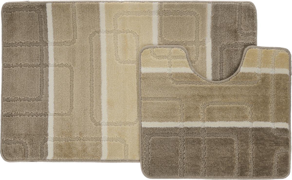 """Набор ковриков для ванной Arya """"Multi 5020"""", цвет: бежевый, светло-бежевый, молочный, 2 шт"""