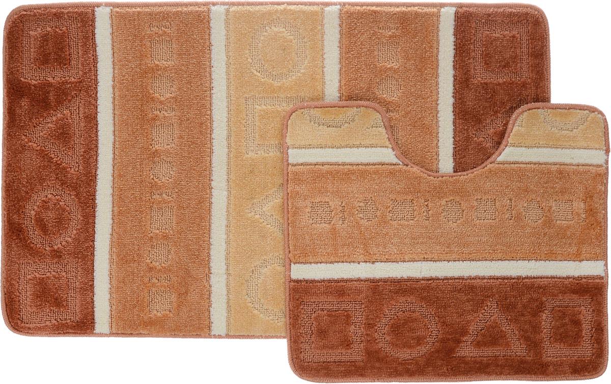 Набор ковриков для ванной Arya Multi 5015, цвет: терракотовый, медный, молочный, 2 штTR1000219Терракотовый, МедныйНеобыкновенные коврики для ванной Arya Multi 5015 обладают эффектным дизайном, мягким и легким в уходе ворсом, нежным естественным оттенком, а также насыщенным цветом. Набор состоит из двух ковриков, выполненных из полиэстера. Верхняя часть из ворса 3 мм. Коврики украшены слегка выбитым рисунком на ворсе, который придаст еще большей элегантности дизайну ванной комнаты. Особенности изделий: С обратной стороны коврики имеют противоскользящее латексное покрытие. Края ковриков обработаны. Коврики не требовательны в уходе, если они чрезмерно не пачкаются и не загрязняются. В зависимости от интенсивности использования достаточно раз в месяц или в три месяца привести их в порядок. Коврики легко сворачиваются или складываются и помещаются в емкость для стирки. Данные коврики легко выдержат машинную стирку на бережном цикле при 30°С. Хорошо впитывают влагу, не пропускают ее на пол, быстро сохнут. Коврик - это необходимый предмет, без...