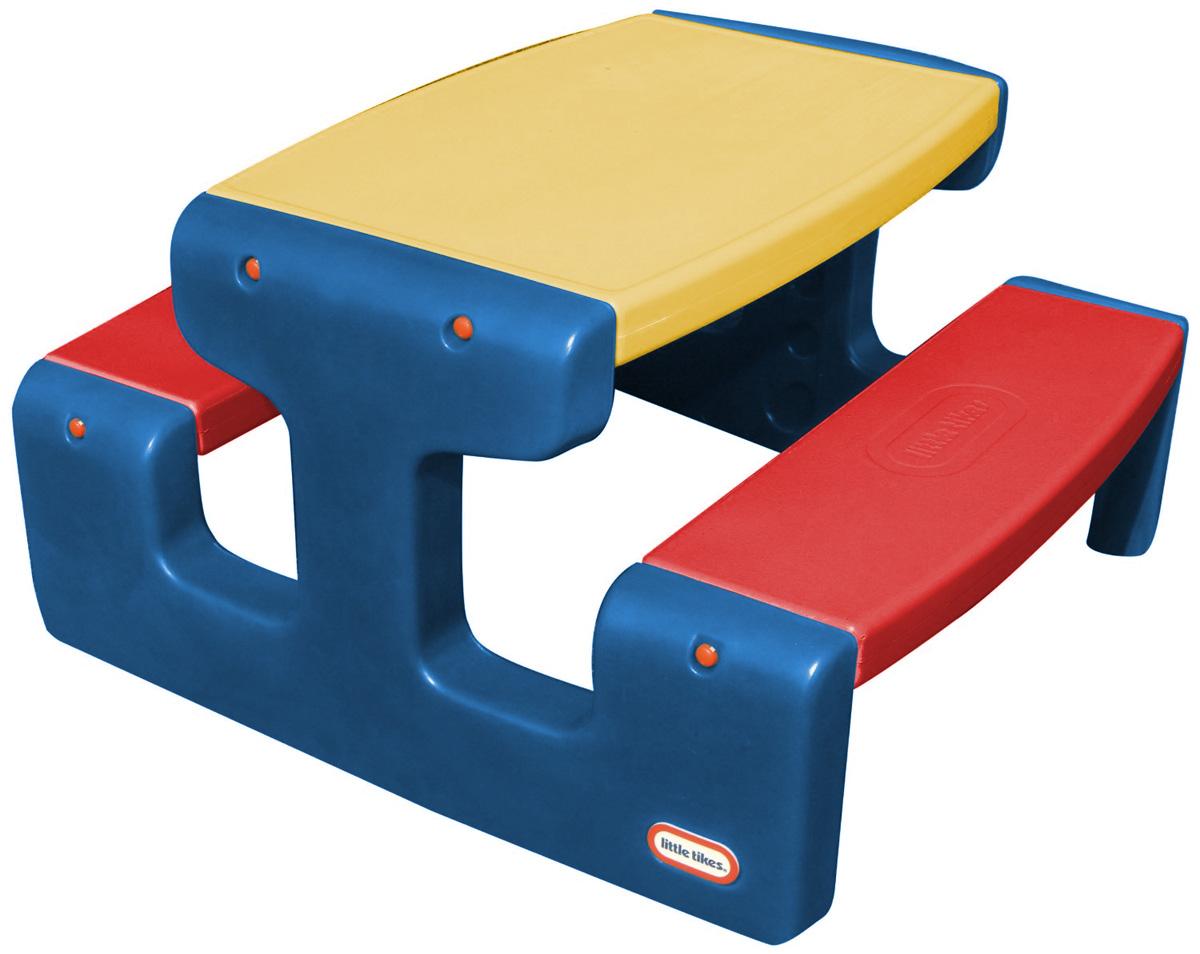 Little Tikes Большой стол для пикника цвет синий желтый красный466A_синий, желтый, красныйБольшой стол для пикника Little Tikes выполнен из высококачественного пластика. Две скамеечки расположены друг напротив друга, с обеих сторон стола. Конструкция прочно соединена, что оберегает от случайных падений скамеек и столешницы. Всего за столом может поместиться 4 ребенка. Столик легко собирать, разбирать и хранить. Выполнен в ярких тонах - такой столик будет отлично смотреться на любой лужайке! У изделия отсутствуют острые углы, что делает его безопасным для маленьких детишек.