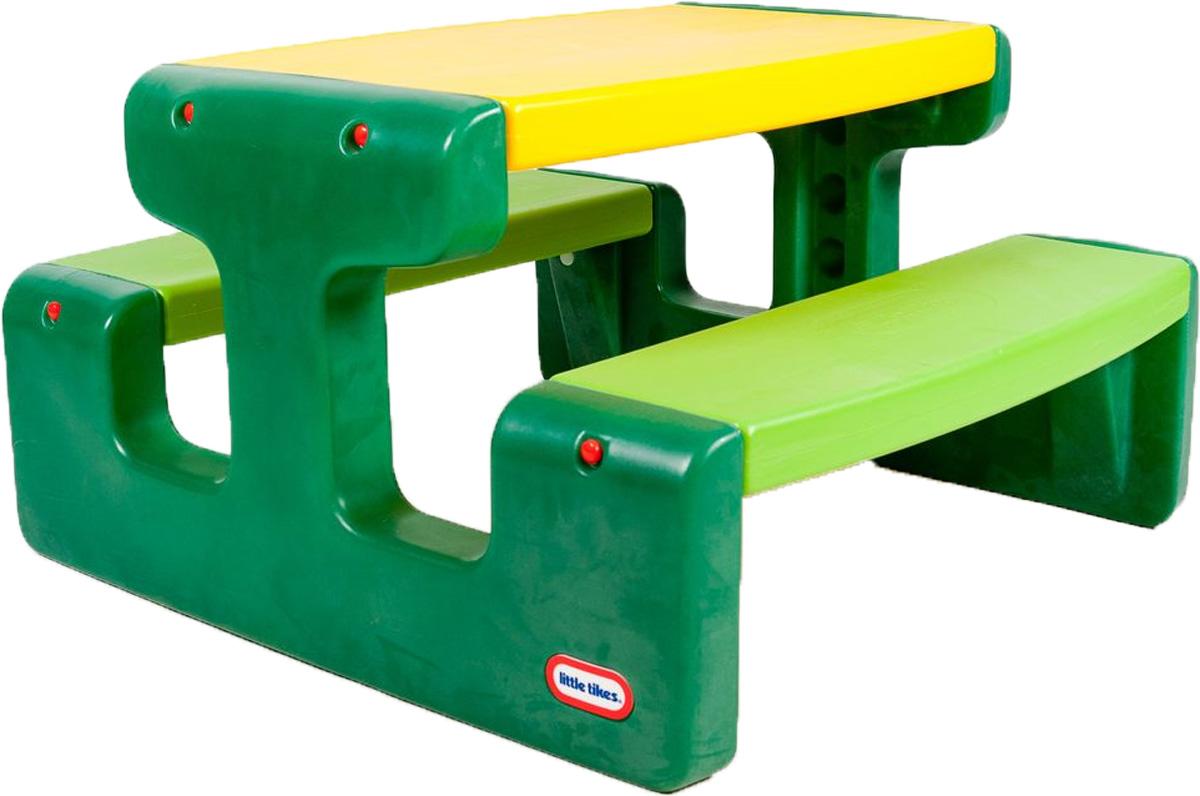 Little Tikes Стол для пикника цвет зеленый желтый466AБольшой стол для пикника Little Tikes выполнен из высококачественного пластика. Две скамеечки расположены друг напротив друга, с обеих сторон стола. Конструкция прочно соединена, что оберегает от случайных падений скамеек и столешницы. Всего за столом может поместиться 6 малышей. Столик легко собирать, разбирать, хранить и чистить. Выполнен в ярких тонах - такой столик будет отлично смотреться на любой лужайке! У изделия отсутствуют острые углы, что делает его безопасным для маленьких детишек.