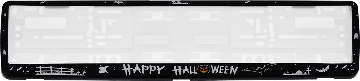 Рамка под номерной знак Happy HalloweenЗ0000015067Рамка Happy Halloween не только закрепит регистрационный знак на вашем автомобиле, но и красиво его оформит. Основание рамки выполнено из полипропилена, материал лицевой панели - пластик. Она предназначена для крепления регистрационного знака российского и европейского образца, декорирована рисунком и надписью Happy Halloween. Устанавливается на все типы автомобилей. Крепления в комплект не входят. Стильный дизайн идеально впишется в экстерьер вашего автомобиля.