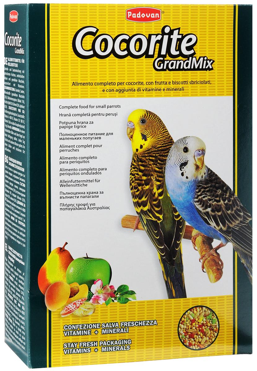 Корм Padovan Сocorite Grandmix, для волнистых попугаев, 1 кг16821Padovan Сocorite Grandmix - это комплексный корм для волнистых попугаев, смесь зерен и семян с сушеными фруктами, раскрошенным печеньем и измельченными ракушками, с витаминными добавками. Состав: злаки, семена, минеральные вещества (измельченные ракушки 3,5%), хлебопродукты (печенье 3%), фрукты (яблоко 0,5%, груша 0,5%, абрикос 0,5%). Добавки на 1 кг продукта: витамин А 4000 МЕ, витамин D3 500 МЕ, витамин Е (альфа-токоферол) 7 мг. Пищевые красители.