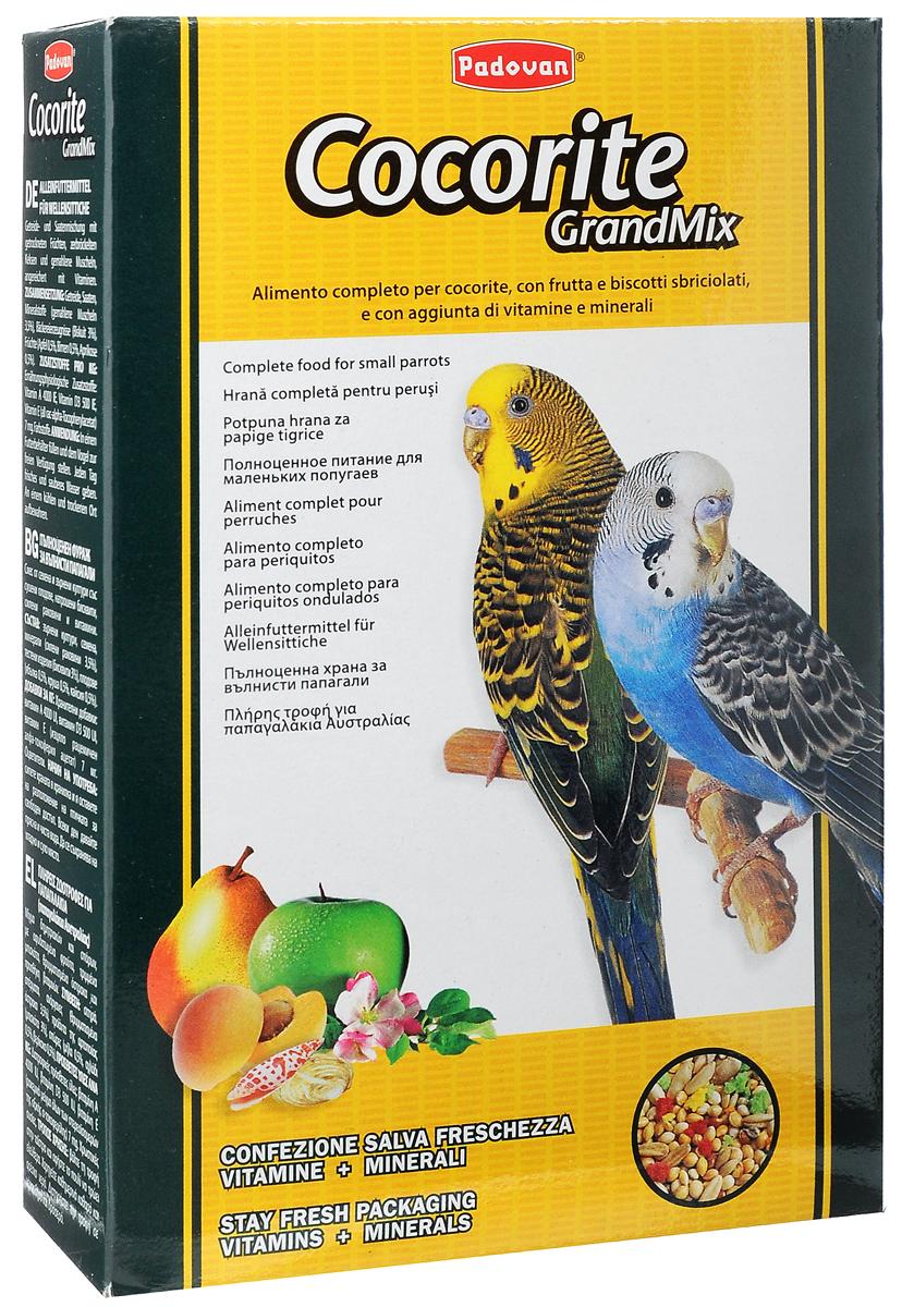 Корм Padovan Сocorite Grandmix, для волнистых попугаев, 400 г16851Padovan Сocorite Grandmix - это комплексный корм для волнистых попугаев, смесь зерен и семян с сушеными фруктами, раскрошенным печеньем и измельченными ракушками, с витаминными добавками. Состав: злаки, семена, минеральные вещества (измельченные ракушки 3,5%), хлебопродукты (печенье 3%), фрукты (яблоко 0,5%, груша 0,5%, абрикос 0,5%). Добавки на 1 кг продукта: витамин А 4000 МЕ, витамин D3 500 МЕ, витамин Е (альфа-токоферол) 7 мг. Пищевые красители.