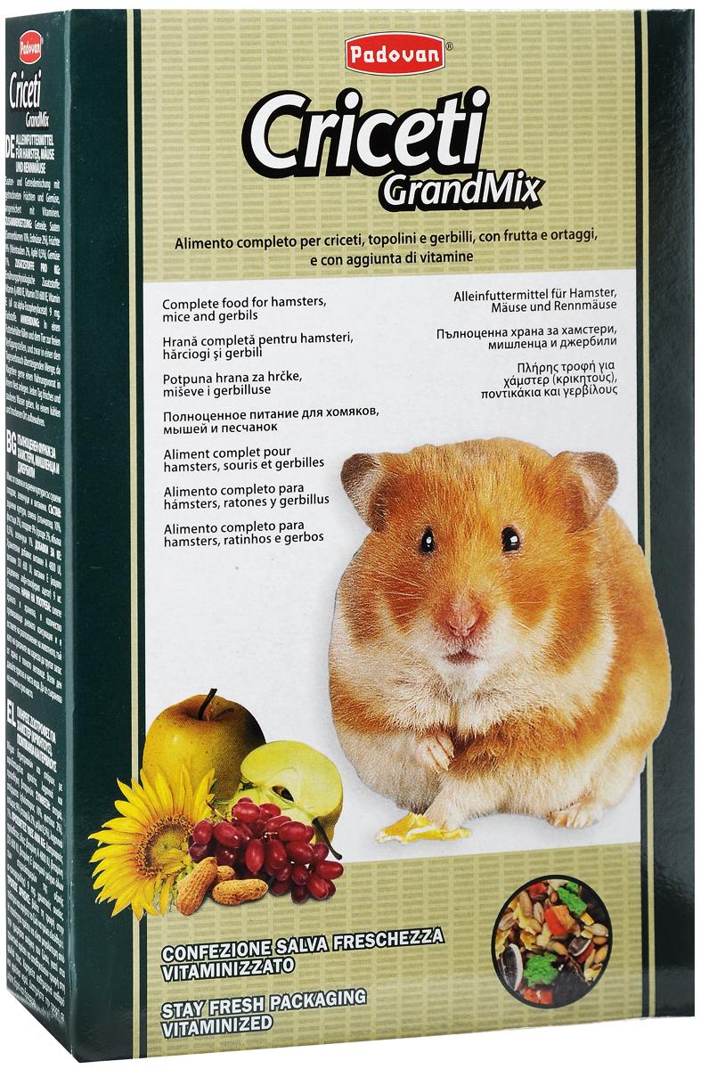 Корм Padovan Criceti Grandmix, для хомяков и мышей, 400 г16899Комплексный, высококачественный основной корм Padovan Criceti Grandmix подходит для мышей, хомяков и песчанок. Он обогащен фруктами и овощами, витаминами и минералами. Состав: злаки, семена (подсолнух 10%, арахис 2%), фрукты 9% (виноград 2%, яблоко 0,5%), овощи 1%. Добавки на 1 кг продукта: витамин А 4800 МЕ, витамин D3 600 МЕ, витамин Е (альфа-токоферол) 9 мг. Пищевые красители. Товар сертифицирован.