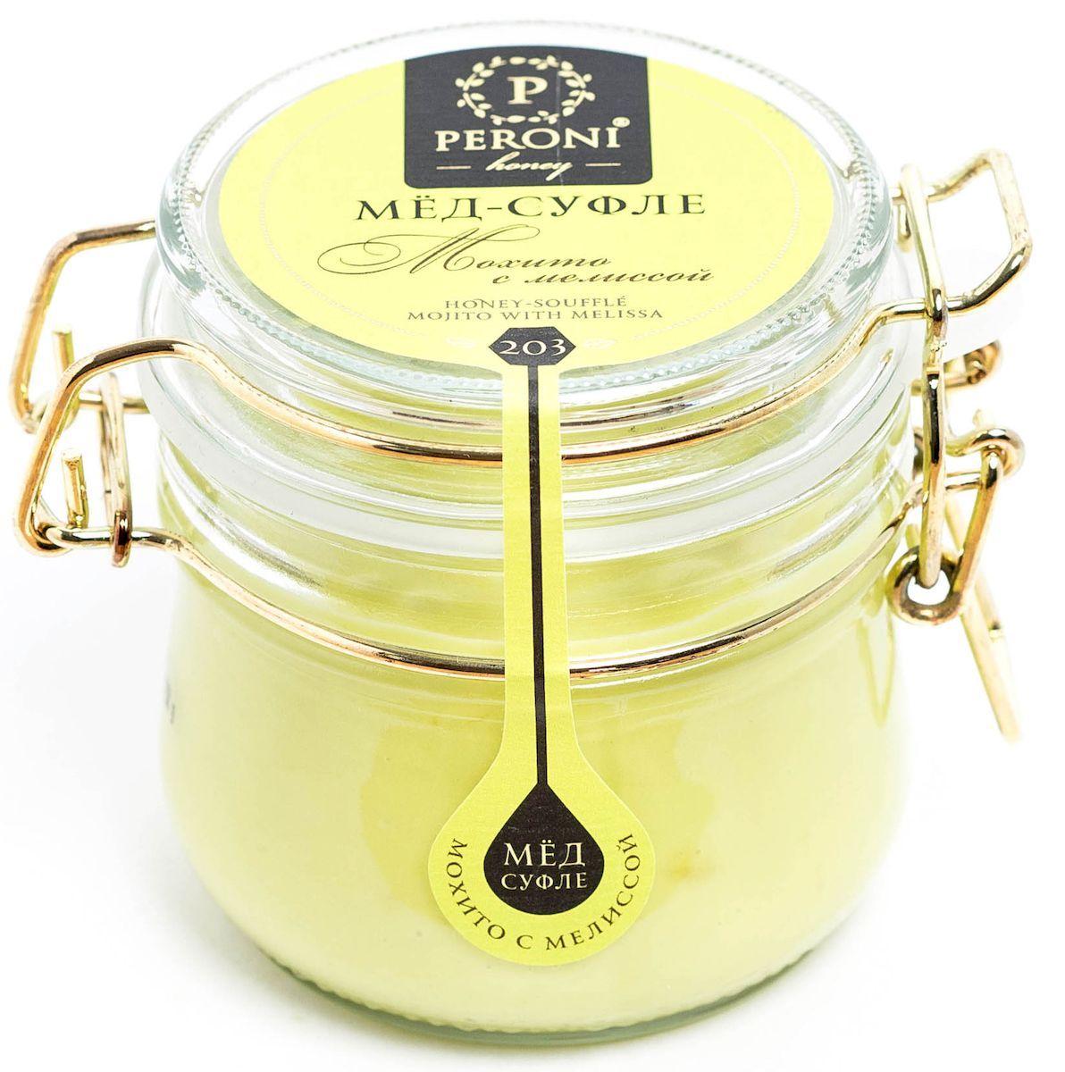 Peroni Мохито с мелиссой мёд-суфле, 250 г203Можно сказать, что цвет этого мёда загадочный и ласковый – нежный светлый лайм, а может быть светлый оттенок авокадо… Приятный тонкий аромат мёда напоминает о цветущих садах с пряно-травяным дуновением теплого летнего ветра. Консистенция мёда мягкая, шелковистая. Необычный вкус раскрывает богатую палитру оттенков: сладкие сливки, свежий лимон, чувственная мелисса и пикантное послевкусие. Мёд-коктейль Мохито с мелиссой будет надежным компаньоном в любой сезон. Летом он освежит, тонизирует и подарит минуты отдыха и расслабления. А зимой он поддержит вашу иммунную систему, успокоит, справится с простудой, снимет мышечные спазмы и поднимет настроение. Для получения мёда-суфле используются специальные технологии. Мёд долго вымешивается при определенной скорости, после чего его выдерживают при температуре 12-14°С, тем самым закрепляя его нужную консистенцию. Все полезные свойства мёда при этом сохраняются.
