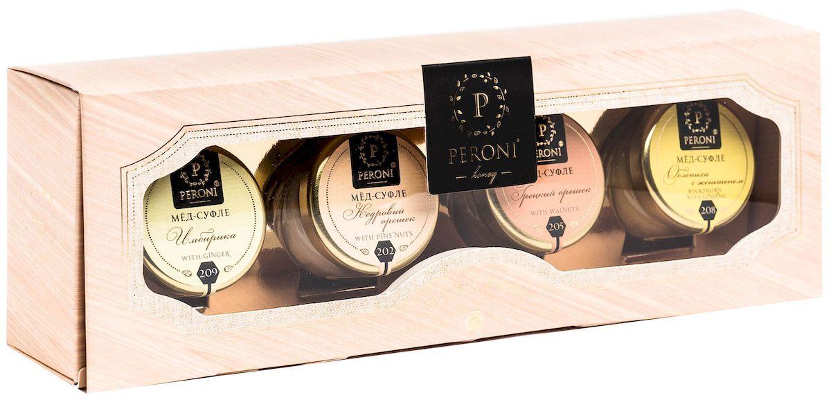 Peroni Энерджи мёд-суфле подарочный набор, 4 х 30 г305В серии Энереджи собрали меда, которые являются природными энергетиками и помощниками организма в восстановлении энергозапаса, поднятии общего тонуса и иммунитета. Они помогут для стимуляции умственной деятельности и при физических нагрузках. Для получения меда-суфле используются специальные технологии. Мёд долго вымешивается при определенной скорости, после чего его выдерживают при температуре 12-14 градусов по С, тем самым закрепляя его нужную консистенцию. Все полезные свойства меда при этом сохраняются.