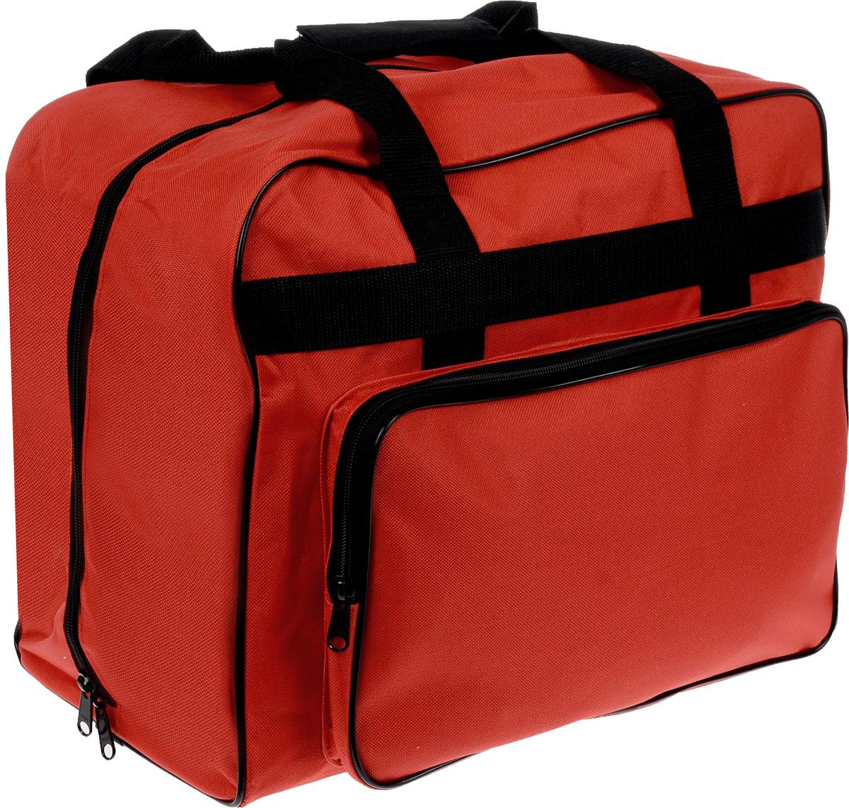 Сумка для швейной машины Aurora, 43 х 21 х 33 смMS-074FСовременная сумка Aurora, выполненная из прочного и влагостойкого текстиля, предназначена для хранения швейной машины. Усиленные швы, молния и широкие ручки из стропы выполнены в контрастном цвете. Сумка дополнена боковым карманом, в котором вы можете переносить фурнитуру и прочие швейные мелочи.