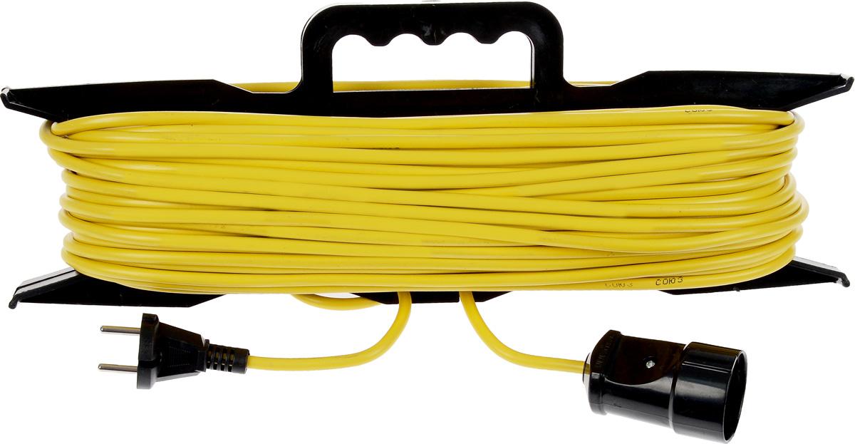 Удлинитель-шнур ПВС Союз, на рамке, цвет: желтый, черный, 2 х 0,75/6 А, 50 м83194_желтыйУдлинитель-шнур на рамке Союз предназначен для бытового применения и обеспечивает возможность присоединения электрического приемника к однофазной электрической сети с номинальным напряжением 220В. Провод ПВС (2x0,75) с двойной ПВХ изоляцией. За счет большой длины кабеля незаменим на садовом участке, при проведении строительных и ремонтных работ. Материал корпуса: высококачественный пластик. Напряжение в сети: 220/250 В. Частота тока: 50 Гц. Максимальная мощность: 1300 Вт.