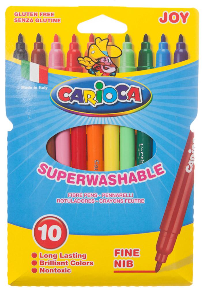 Carioca Joy Набор фломастеров 10 цветов40528/10Набор Carioca Joy состоит из 10 разноцветных фломастеров, которые отлично подойдут и для школьных занятий, и просто для рисования. Фломастеры рисуют яркими насыщенными цветами. Чернила на водной основе легко смываются с кожи и отстирываются с большинства тканей. Корпус фломастеров изготовлен из полипропилена, а колпачок имеет специальные прорези, что обеспечивает вентилирование и еще больше увеличивает срок службы чернил и предотвращает их преждевременное высыхание. Характеристики: Длина фломастера: 14 см. Размер упаковки: 12 см х 18 см х 1 см.