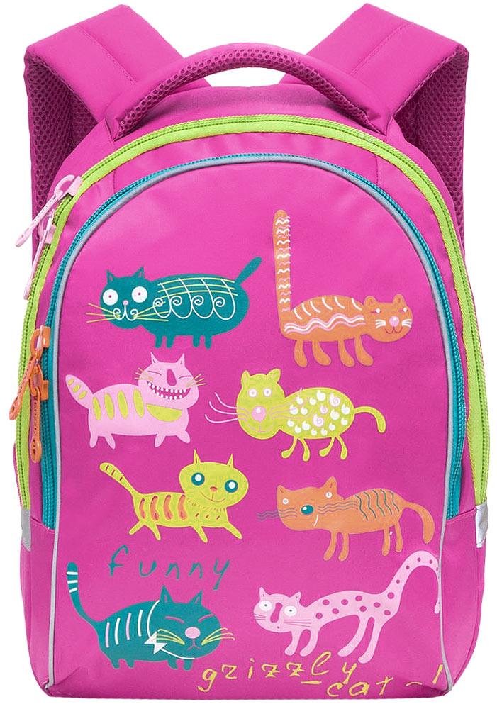 Grizzly Рюкзак детский Коты цвет фуксияRG-657-4/4Детский рюкзак Коты - это красивый и удобный рюкзак, который подойдет всем, кто хочет разнообразить свои школьные будни. Рюкзак выполнен из плотного нейлона яркого цвета и оформлен оригинальными изображениями цветных забавных котов. Рюкзак имеет два основных отделения, которые закрываются на застежки-молнии. Одно из отделений содержит открытый накладной карман и три небольших кармашка для канцелярских принадлежностей, второе отделение не имеет карманов. Рюкзак оснащен удобной ручкой для переноски. Светоотражающие полоски по всему периметру рюкзака существенно повышают безопасность ребенка на дороге в темное время суток. Широкие регулируемые лямки и сетчатые мягкие вставки на спинке рюкзака предохранят мышцы спины ребенка от перенапряжения при длительном ношении. Многофункциональный детский рюкзак станет незаменимым спутником вашего ребенка в поход за знаниями.