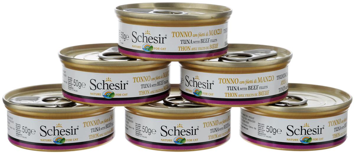 Конcервы Schesir для кошек, с тунцом и говядиной, 50 г, 6 шт24901Консервы Schesir - это дополнительный влажный корм для кошек. Выполнены из высококачественных натуральных ингредиентов того же качества, которое используется для продуктов питания человека. Консервы не содержат красителей, стимуляторов аппетита и химических консервантов. Товар сертифицирован.