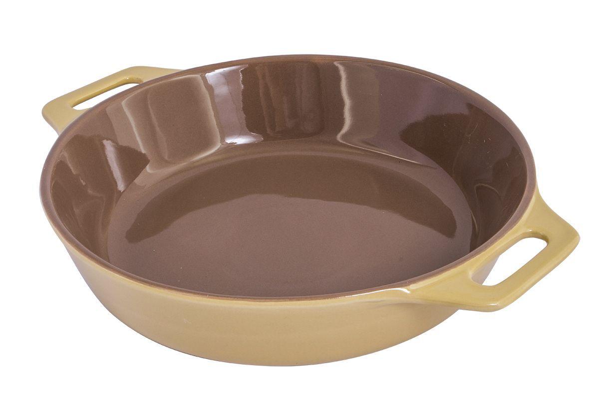 Форма для запекания Pomi d'Oro Al Forno, круглая, 33 см77.858@23398 / Q3311 Al FornoФорма для запекания Pomi dOro, 33 см, круглая, модель Q3311, коллекция Al Forno.Круглая форма для выпечки из жаропрочной керамики. Снабжена двумя ручками для удобства использования и подачи. Подходит для всех типов духовых шкафов и микроволновых печей. Благодаря эстетичному цветовому решению крем/шоколад может использоваться не только для выпечки, но и для сервировки стола. Размер: 33,7х27х6,5 см.