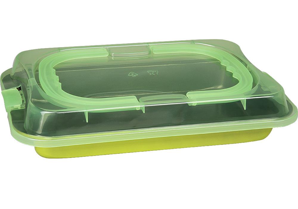 Форма для запекания Pomi d'Oro Dolcezza, прямоугольная, 36 см77.858@23427 / QL3602 DolcezzaФорма для запекания Pomi dOro, 36 см, прямоугольная с крышкой, модель QL3602, коллекция Dolcezza.Прямоугольная форма подходит для приготовления выпечки, запеканок и других блюд. Выполена из углеродистой стали толщиной 0,4 мм с антипригарным покрытием. Крышка с ручками в комплекте. Крышка выполнена из прочной пластмассы, однако ее нельзя использовать в духовке или накрытвать горячую форму. Прочная и долговечная, не деформируется под воздействием температуры, легко моется. Может использоваться во всех типах духовых шкафов. Можно мыть в посудомоечной машине.Размер формы без крышки: 36х23х4 см.