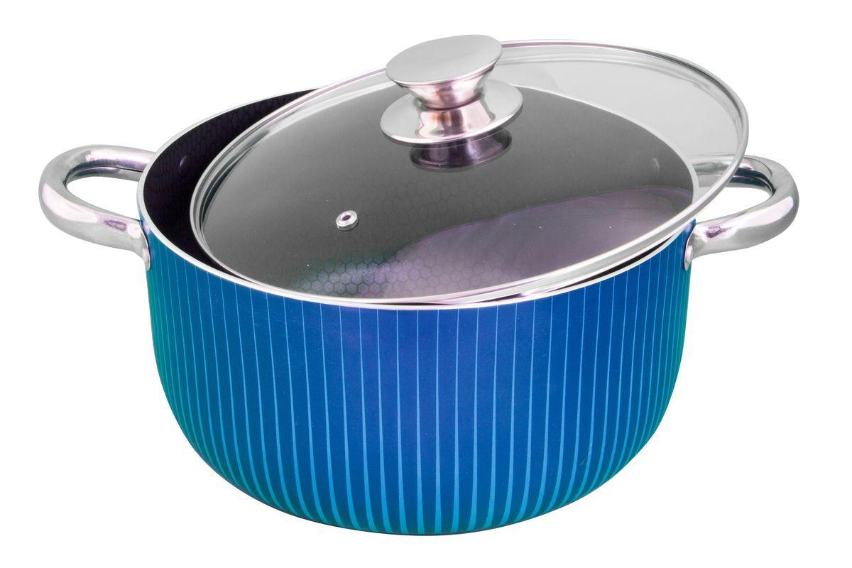 Кастрюля Pomi d'Oro Azzurro, с антипригарным покрытием. Диаметр 26 см77.858@24046 / CL2603 AzzurroКастрюля Pomi dOro, модель CL2603 , коллекция Azzurro. Диаметр 26 см, антипригарное покрытие внутри. Выполнена из штампованного алюминия. Стильная металлическая ручка не нагревается. Внутреннее покрытие с ячеистым рисунком, немаркое и устойчивое к царапинам. Легко моется. Рекомендуется использовать деревянную или силиконовоую лопатку. 6 литров. Изделие: 34 x 27 x 15,2 см 1,489 / 1,763 кг