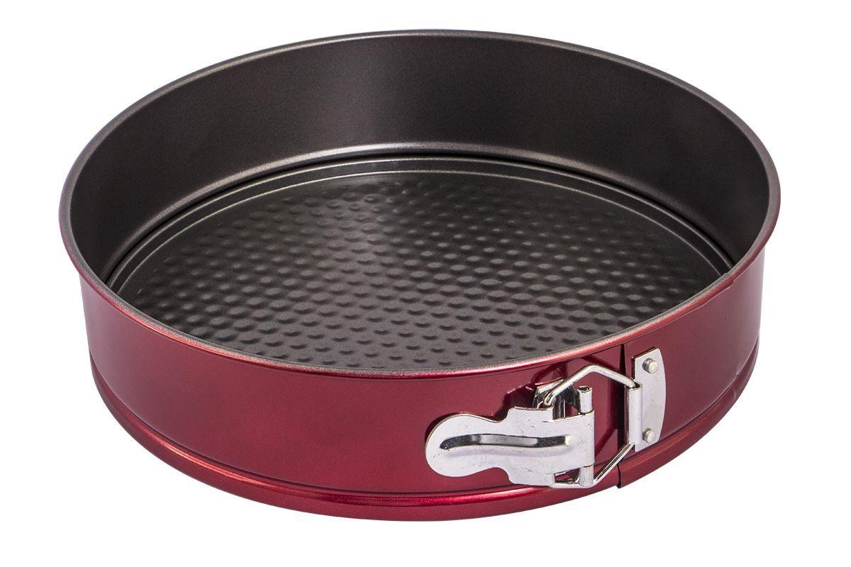 Форма для запекания Pomi d'Oro Dolcezza Rosso, разъемная, 26 см77.858@24214 / Q2611 Dolcezza RossoФорма для запекания Pomi dOro, 26 см, разъемная, круглая, модель Q2611, коллекция Dolcezza Rosso.Разъемная форма подходит для приготовления кексов и пирогов. Благодаря удобному механизму, ваши кондитерские изделия не будут повреждены при вынимании. Выполнена из углеродистой стали толщиной 0,4 мм с антипригарным покрытием. Дополнительное внешнее металлизированное покрытие красного цвета. Прочная и долговечная, не деформируется под воздействием температуры, легко моется. Может использоваться во всех типах духовых шкафов. Можно мыть в посудомоечной машине.Размер: 26х6,8 см.