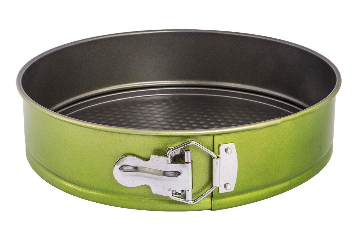 Форма для запекания Pomi d'Oro Dolcezza Verde, разъемная, 26 см77.858@24215 / Q2612 Dolcezza VerdeФорма для запекания Pomi dOro, 26 см, разъемная, круглая, модель Q2612, коллекция Dolcezza Verde.Разъемная форма подходит для приготовления кексов и пирогов. Благодаря удобному механизму, ваши кондитерские изделия не будут повреждены при вынимании. Выполнена из углеродистой стали толщиной 0,4 мм с антипригарным покрытием. Дополнительное внешнее металлизированное покрытие зеленого цвета. Прочная и долговечная, не деформируется под воздействием температуры, легко моется. Может использоваться во всех типах духовых шкафов. Можно мыть в посудомоечной машине.Размер: 26х6,8 см.