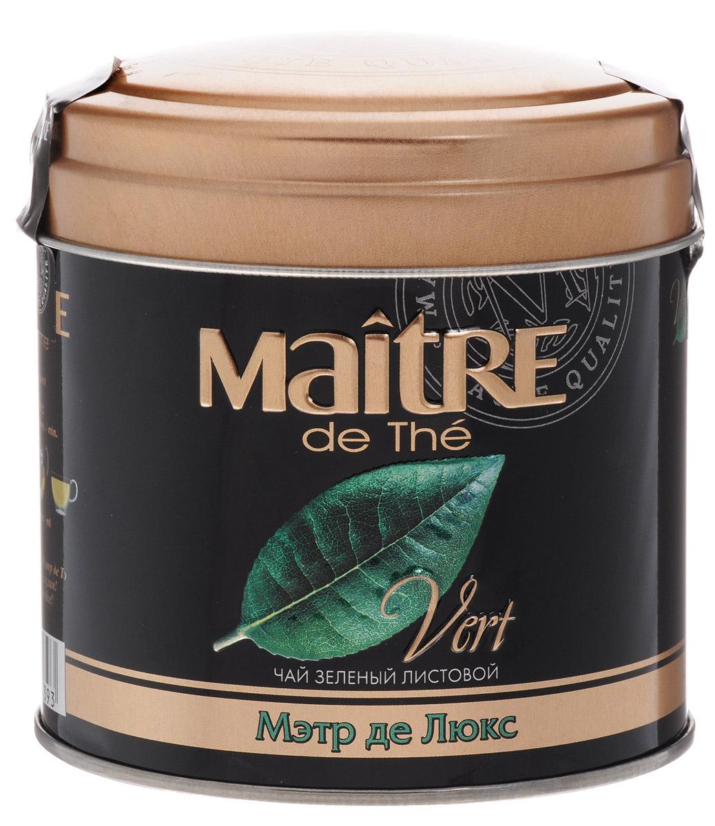Maitre de The Де Люкс зеленый листовой чай, 65 г (жестяная банка)бар170рMaitre de The Де Люкс Зеленый листовой чай - это необыкновенный чай, сочетающий изысканный сладкий аромат белого чая со вкусом и полезными свойствами зеленого чая. Белые чайные листочки придают настою яркий прозрачный цвет.