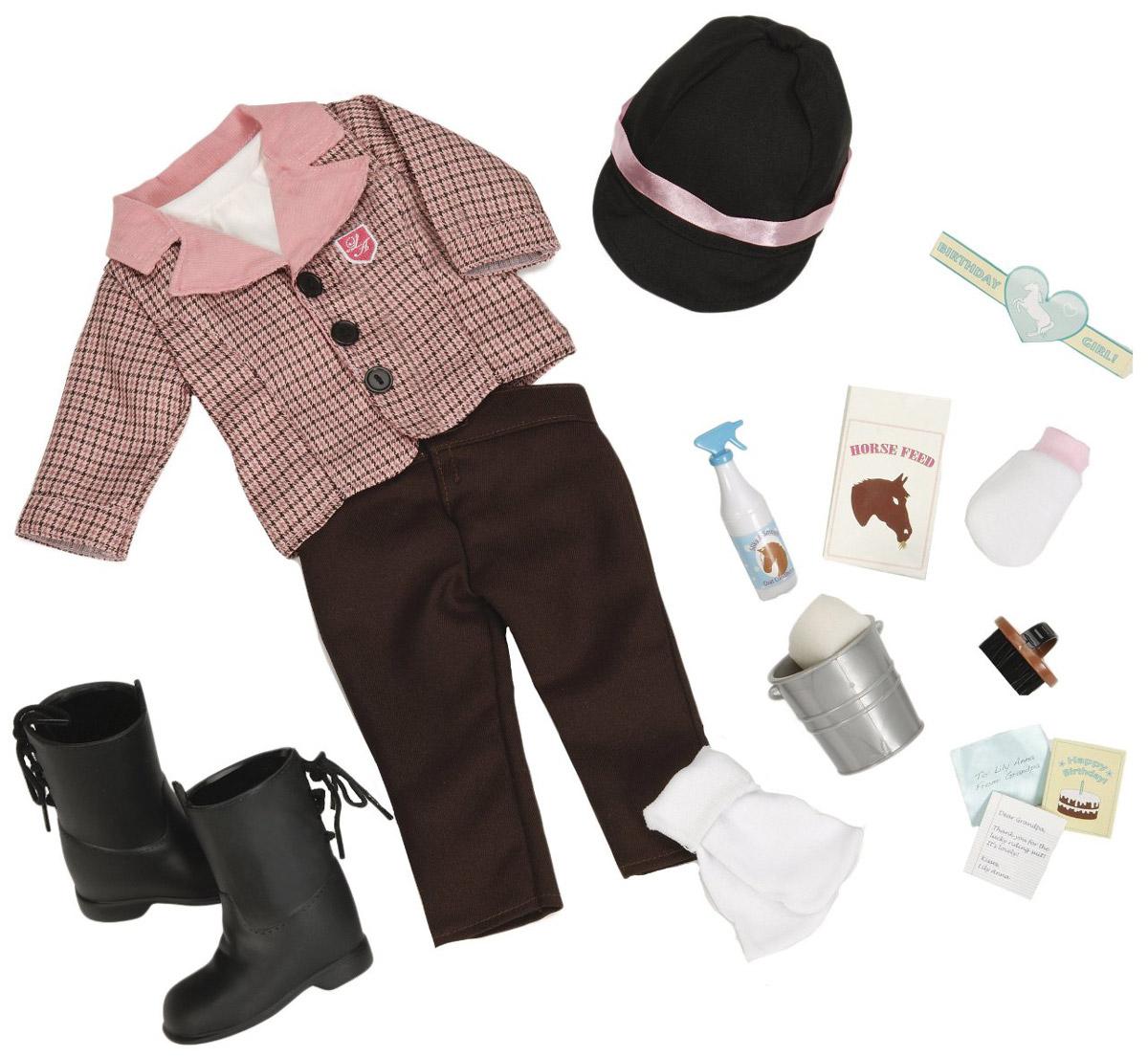 Our Generation Набор для ухода за лошадью11513Набор для ухода за лошадью Our Generation обязательно привлечет внимание маленьких любительниц лошадей. Набор включает в себя: куртку наездницы, кофту, кепку-шлем, пакет для корма лошади, щетку, губку, пульверизатор, ведро, мочалку-рукавичку, поздравительную открытку и другие аксессуары. С набором для ухода за лошадью день будет наполнен увлекательными и одновременно познавательными играми. Порадуйте свою дочурку таким замечательным подарком! Одежда подходит для кукол выстой 46 см.