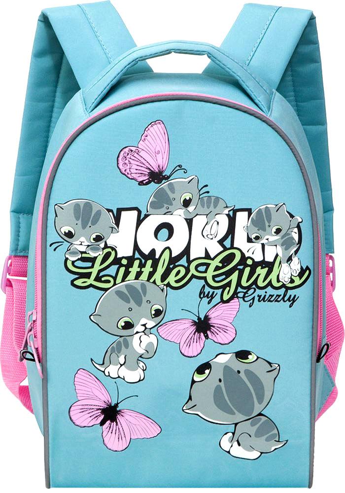 Grizzly Рюкзак дошкольный Little Girls цвет мятныйRS-665-1/4Дошкольный рюкзак Grizzly Little Girls выполнен из прочной микрофибры и украшен изображением очаровательных котят и бабочек. Рюкзак имеет одно отделение на молнии, регулируемые лямки и специальную ручку для размещения на вешалке. Также на рюкзаке находятся светоотражающие вставки. Порадуйте своего ребенка таким замечательным подарком!