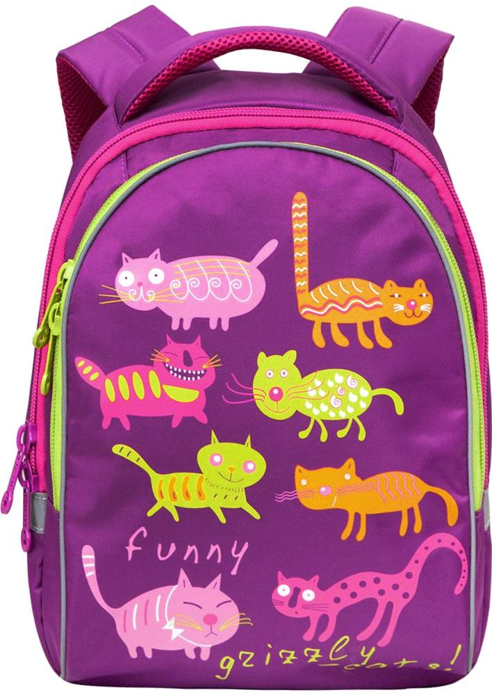 Grizzly Рюкзак детский Коты цвет лиловыйRG-657-4/2Детский стильный рюкзак Grizzly Коты - это красивый и удобный рюкзак, который подойдет всем, кто хочет разнообразить свои школьные будни. Рюкзак выполнен из плотного нейлона яркого цвета и оформлен оригинальными изображениями цветных забавных котов. Рюкзак имеет два основных отделения, которые закрываются на застежки-молнии с двумя бегунками. Наименьшее отделение содержит открытый накладной карман и три небольших кармашка для канцелярских принадлежностей. Рюкзак оснащен удобной ручкой для переноски в руке. Светоотражающие вставки существенно повышают безопасность ребенка на дороге в темное время суток. Широкие регулируемые лямки и сетчатые мягкие вставки на спинке рюкзака предохранят мышцы спины ребенка от перенапряжения при длительном ношении. Многофункциональный детский рюкзак станет незаменимым спутником вашего ребенка в поход за знаниями.