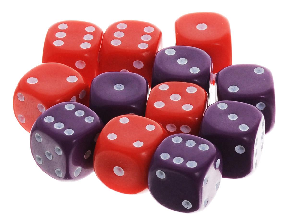 Pandoras Box Набор кубиков для настольных игр цвет фиолетовый красный 12 шт02DG151_фиолетовый, красныйНабор игральных кубиков Pandoras Box предназначен для настольных игр. Набор состоит из 12 шестигранных кубиков. На каждую сторону кубика нанесены в виде точек числа от 1 до 6. Целью броска кубика является демонстрация случайно определенного числа, каждое из которых является равновозможным благодаря правильной геометрической форме. Игральные кубики выполнены из прочного пластика.