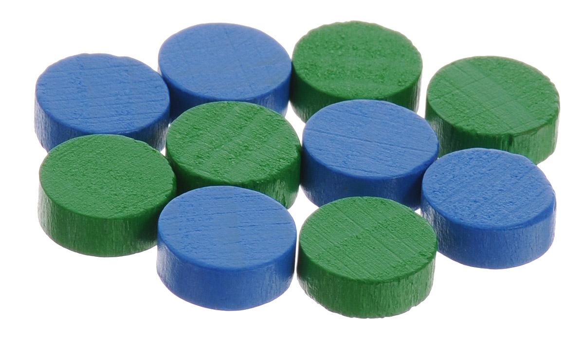 Pandoras Box Набор фишек Эко-стиль диаметр 10 мм цвет зеленый синий 10 шт06LZ020_зеленый, синийНабор фишек Эко-стиль предназначен для настольных игр. Фишки можно использовать для отметки уровня ресурсов жизни, победных очков при игре в настольные игры. В наборе представлены фишки зеленого и синего цветов. Фишки выполнены из натурального дерева и покрыты краской. Набор содержит 10 фишек диаметром 1 см.