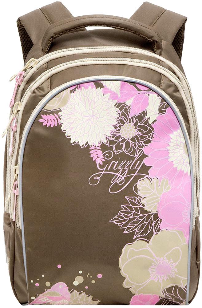 Grizzly Рюкзак детский цвет охраRG-657-2/4Детский рюкзак Grizzly - это красивый и удобный рюкзак, который подойдет всем, кто хочет разнообразить свои школьные будни. Рюкзак выполнен из плотного материала и оформлен оригинальным рисунком в виде цветов. Рюкзак имеет три основных отделения, закрывающиеся на застежки-молнии. Одно из отделений содержит накладной карман на молнии, второе отделение не имеет карманов, третье отделение имеет четыре кармана для размещения канцелярских принадлежностей. Рюкзак оснащен удобной ручкой для переноски и светоотражающими элементами. Широкие регулируемые лямки и сетчатые мягкие вставки на спинке рюкзака предохраняют мышцы спины ребенка от перенапряжения при длительном ношении. Многофункциональный детский рюкзак станет незаменимым спутником вашего ребенка.