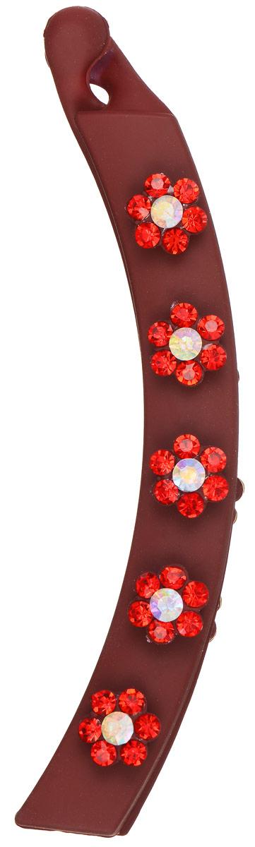 Заколка-банан Mitya Veselkov, цвет: красный. KRAB5-REDKRAB5-REDОригинальная заколка-банан Mitya Veselkov изготовлена из качественного пластика. Заколка украшена цветочками, составленными из страз. Удобный зажим заколки надежно фиксирует волосы и не травмирует их. С помощью заколки-банана можно создавать различные прически для неповторимого образа. Оригинальность и удобство заколки-краба для волос делают ее практичным и стильным аксессуаром.